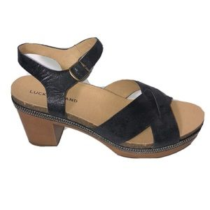 Lucky Brand Harvia Block heel black sandals 10M